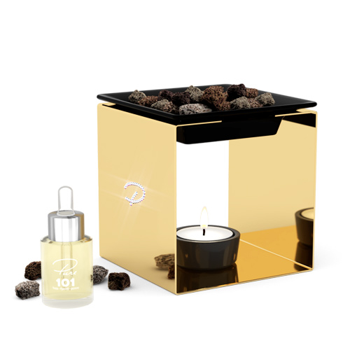 Fragrance oil burner STEEL 1 gold with Swarovski crystals